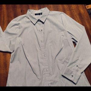 EUC Pinstripes! Nearly-New Tailored Blouse, Sz 16